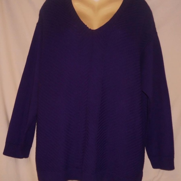3f42f2d08ac Women s Chaps NWT Purple V Neck Sweater 3x NWT